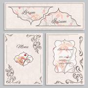 Set floral vintage ornament menu, cards and invitations Stock Illustration