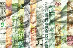 Main currencies crumpled Stock Photos