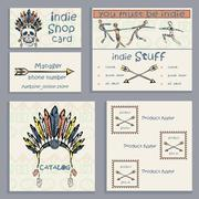 Set ethnic Indian business cards Stock Illustration