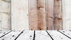 White wooden floor and brown wooden front Stock Photos