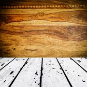 White wooden floor and brown sisu wooden front Stock Photos