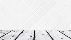 White wooden floor and small white rhomboid mosaic front Stock Photos