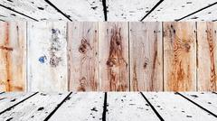 old white wooden floor and ceiling with obsolete brown wood lath - stock photo