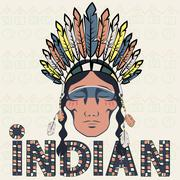 Head Indian injun wearing headdress with feathers - stock illustration
