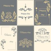 Set floral arabesque ornament greeting card Stock Illustration