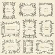 Graphic design linear monogram ornament framework Stock Illustration