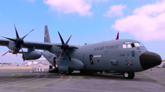 Hurricane Hunter WC-130J of the Air Force's 53rd Weather Reconnaissance Squadron Stock Footage