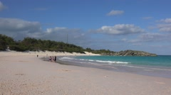 Tourists on the Horseshoe Beach in Bermuda. Stock Footage