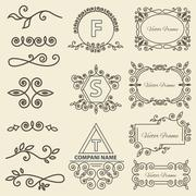 Set Logos, framework, individual ornament elements linear monogram - stock illustration