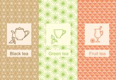 Set linear tea package ornamental - stock illustration