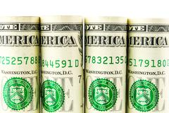 American dollar row on white background Stock Photos