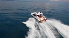 Aerial view motorboat in navigation, motor boat, motor yacht, motoryacht Arkistovideo