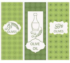 Set linear olive flyers ornament Stock Illustration