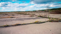 Old abandoned military airfield.Timelapse - stock footage