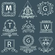 Set victorian logos, ornamental corporate style Stock Illustration