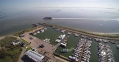 Vlieland overview Marina and Ferry 4k. Stock Footage