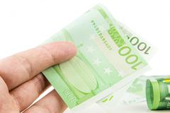 hundred euro bribe - stock photo