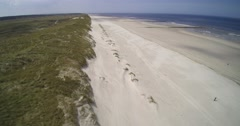 Vlieland coast protection Dunes beach sea shot Stock Footage