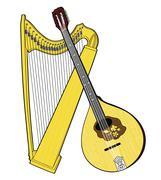 Irish National Musical Instruments. Celtic Harp and Bouzouki Stock Illustration