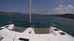 The bow of a sailing catamaran. Stock Footage
