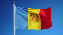 Andorra  flag in slow motion seamlessly looped with alpha - stock footage