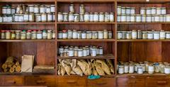 Jars with samples in an old lab - stock photo