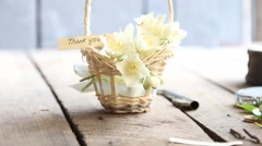 thank you idea text and flowers - stock footage