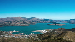 Timelapse of Lyttleton Harbour view from Port Hills. High angle view Stock Footage