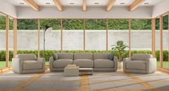 Modern Living room of a holiday villa - stock illustration