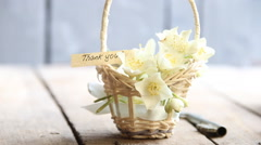 Thank you idea text and flowers Stock Footage