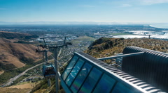 Timelapse of Cable Cars at Christchurch Gondola bringing tourists up Stock Footage