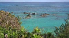Scenic  Bermuda coastline with sea skyline at South Shore National Park. Stock Footage
