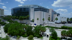 Aerial of the Amalie Center in Tampa Florida. Sports and Entertainment Arena Stock Footage