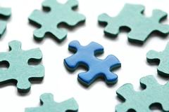 jigsaw puzzle pieces with only one correctly viewed - stock photo