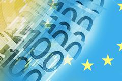 European Union Euros Trader Concept Background. Euro Currency Trading. Stock Illustration