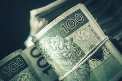 Pile of Polish Zloty Cash Money. Polish Zloty Banknotes. - stock photo