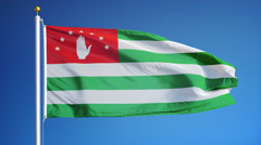 Abkhazia  flag in slow motion seamlessly looped with alpha Stock Footage