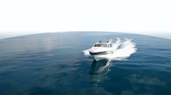 aerial view motorboat in navigation, motor boat, motor yacht, motoryacht - stock footage