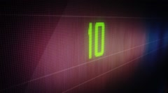 A green techno countdown from 10 to 0 Stock Footage