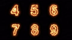 Burning Letters From S to X , Numbers on Fire 6 in 1 , Ultra HD 4K Stock Footage