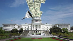 Government Spending & Debt in Washington, DC at the Capitol Building (Congress) Stock Footage