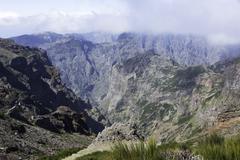 Pico arieiro on madeira island in the clouds Stock Photos