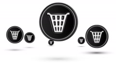 Jumping dustbin icons. Looping. Stock Footage
