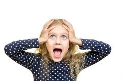 Young pretty blonde girl screams and with shocked expression Stock Photos