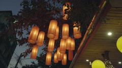 paper lantern at asian restaurant - stock footage