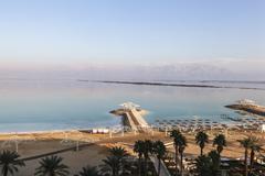 Tourist beach on the shore of the Dead Sea, Israel Kuvituskuvat