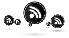 Jumping rss icons. Looping. Stock Footage