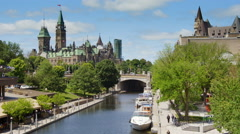 Downtown Ottawa Along the Canal In Summer Stock Footage