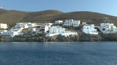Houses of Greek coastal town. Stock Footage