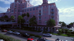 Aerial of Loews Don CeSar Hotel in St. Petersburg, Florida on Beach & Ocean Stock Footage